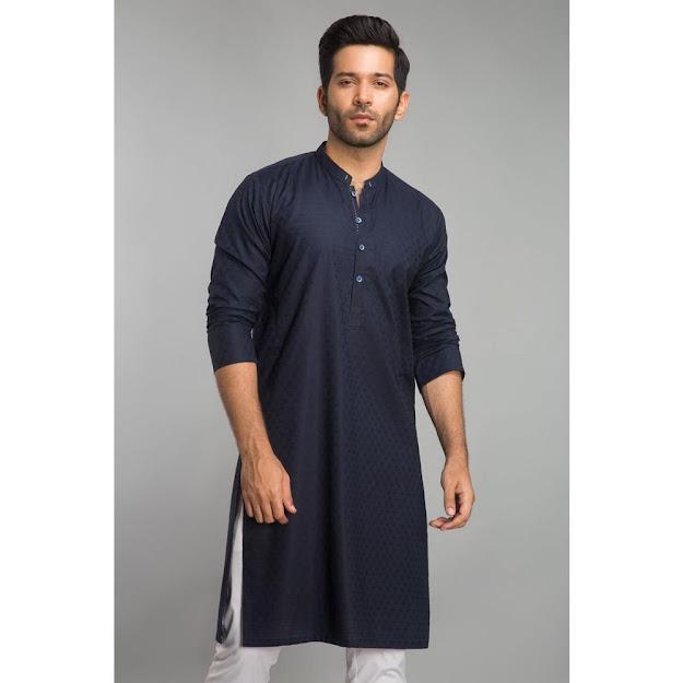 Gul Ahmed Blue bsic Men's kurta collection