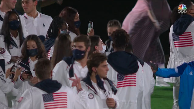 Tokyo 2021 Olympic Games Closing Ceremony Team USA United States not wearing masks