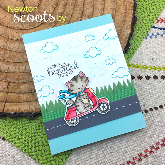 Life is a Beautiful Ride | Cat on Scooter card by Jennifer Jackson | Newton Scoots By Stamp Set by Newton's Nook Designs #newtonsnook