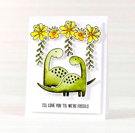 Prehistoric Fun and Blissful Blooms stamp sets and Die-namics - Victoriya Salmina #mftstamps