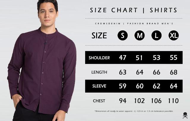 blazer cowok size+chart+kemeja