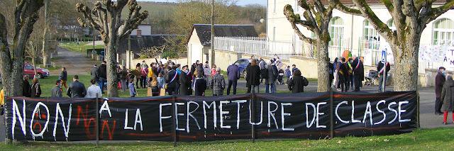 Demonstration against a village school class closure, Indre et Loire, France. Photo by Loire Valley Time Travel.
