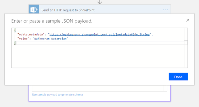 Generate the schema using the output of 'send an HTTP request to SharePoint'