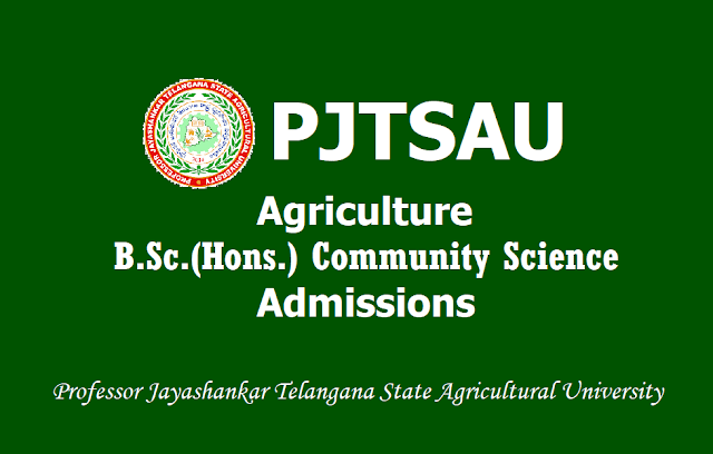 PJTSAU Agriculture B.Sc(Hons) Community/Home Science Course Admissions 2019