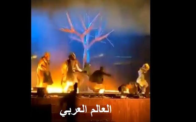 شاهد| الهجوم المسلح على الفرقة الاستعراضية في حديقة الملز بالسعودية وإحراق مسرح الاستعراض
