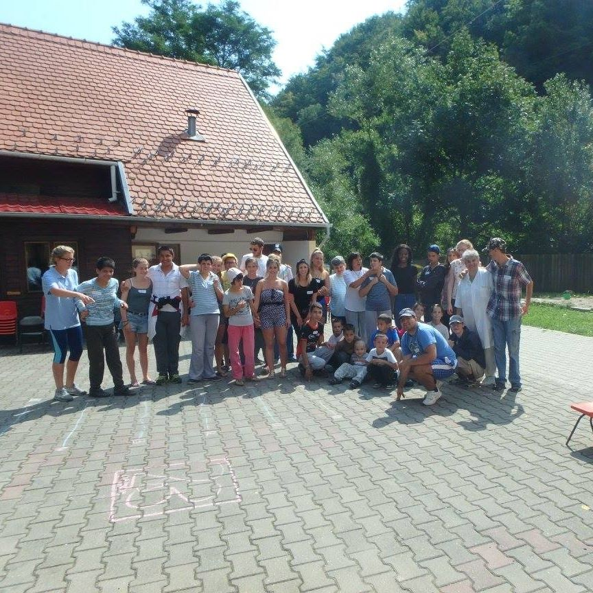 Amber and her group of volunteers at Little John's House, Romania.
