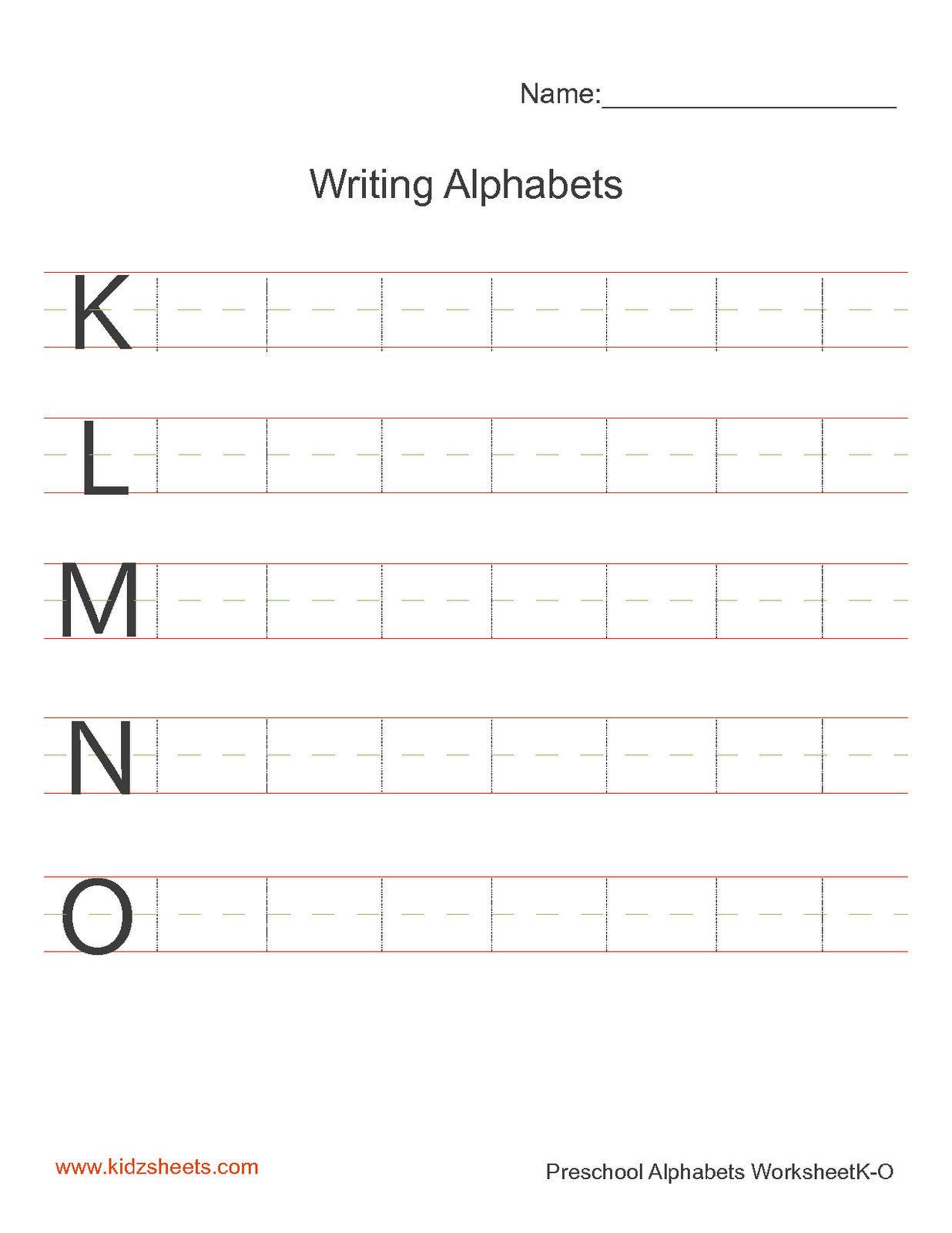 Kidz Worksheets Preschool Writing Alphabets Worksheet3