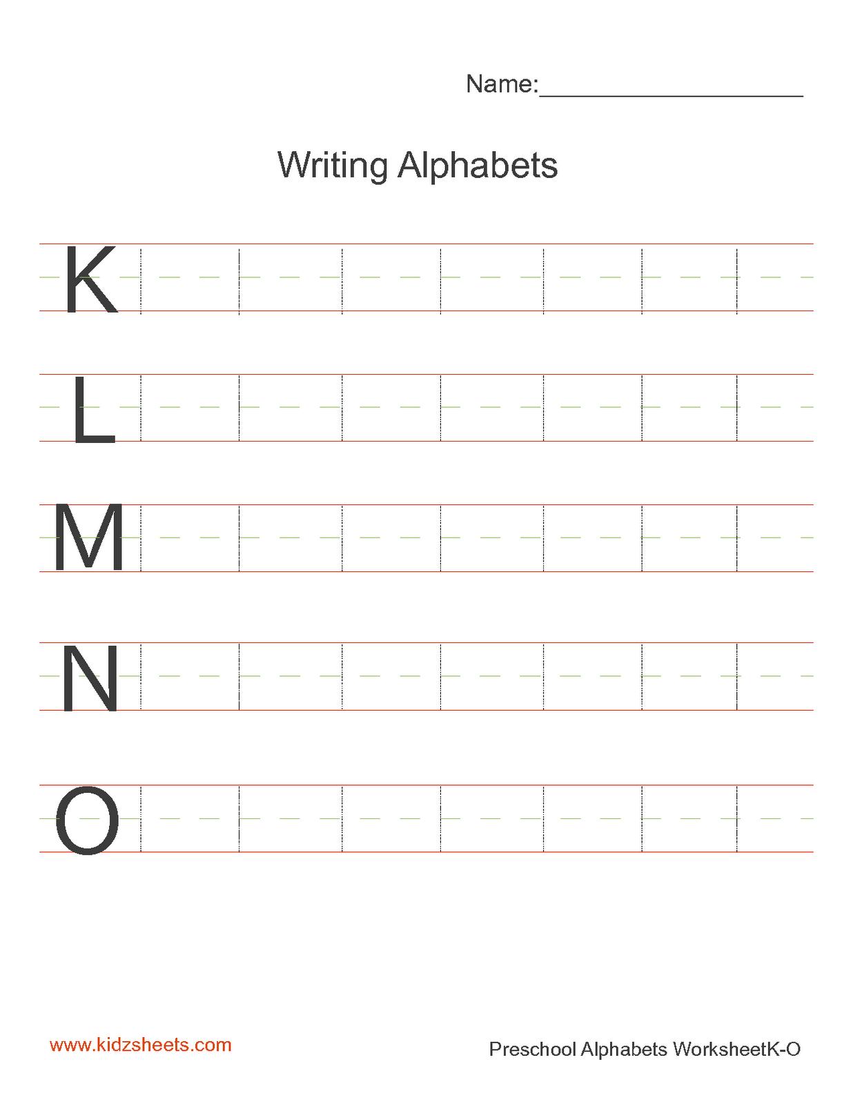 Kidz Worksheets Preschool Writing Alphabets Worksheet3