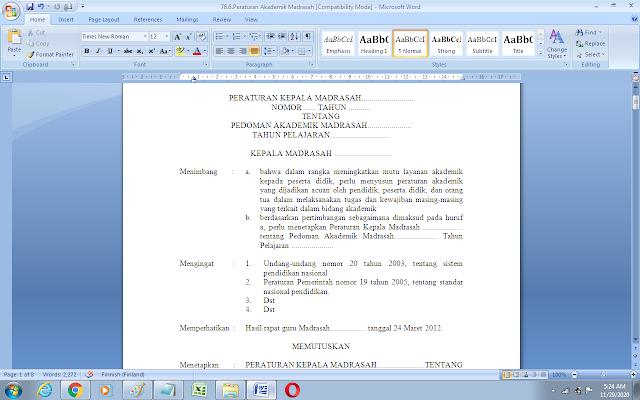 Contoh peraturan akademik SD/MI