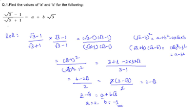 Finding the values of a and b by rationalizing the denominator