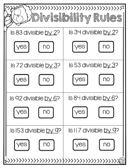 Divisibility Rules Practice Activities and Worksheets for 4th grade math and 5th grade math