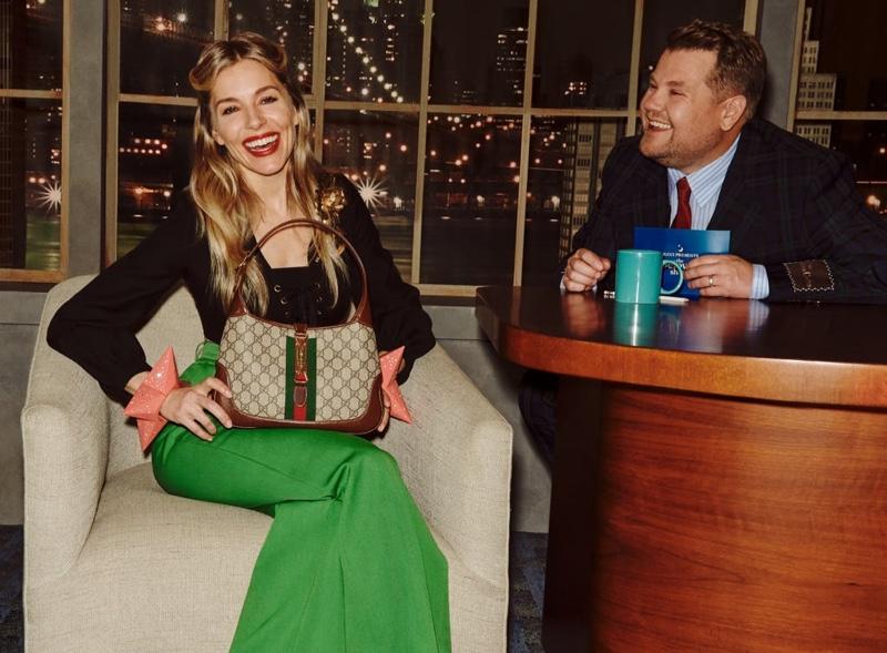 Sienna Miller stars in Gucci Beloved Talk Show Handbag campaign.