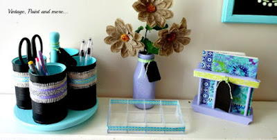 diy desk organizers made from cans, bottles, paint and thrifted items