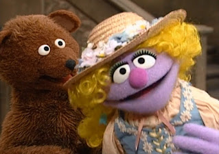 When Baby Bear says a b c, Goldielocks always says the continuation of the alphabet and baby bear cannot learn the continuation. Sesame Street Do the Alphabet