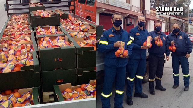 Συγκινητική κίνηση της Πυροσβεστικής Ναυπλίου: Προσφορά 2 τόνων πορτοκάλια στο Λαϊκό Νοσοκομείο