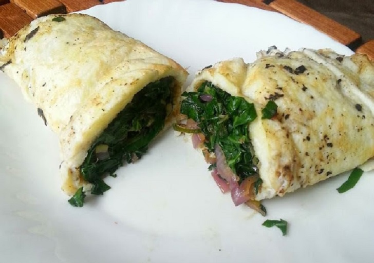 Quick Healthy Breakfast Meal: Egg Rolls Stuffed with Kale Recipe