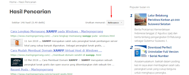 Mengaktifkan Sort by Relevance di Custom Search Engine