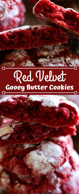 Red Velvet Gooey Butter Cookies #butter #cookies #desserts #velvet #brownies