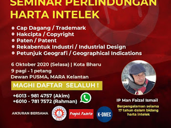 "SEMINAR ""Trademark, Copyright & Patent"" 6 OKTOBER 2020 ini!! Daftar SEGERA!!"