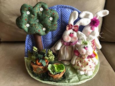 artzete, decoração de pascoa, enfeite de pascoa, decoração de coelho, bichos em feltro