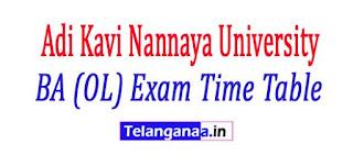 ANUR Adi Kavi Nannaya University BA (OL) Exam Time Table 2018