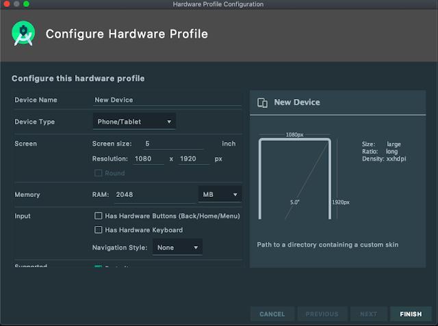 android emulator new hardware profie