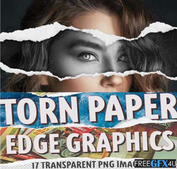 17 Torn Paper Edge PNG Collage Effects