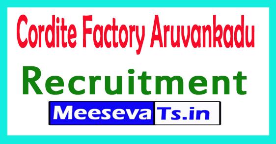 Cordite Factory Aruvankadu Recruitment 2017