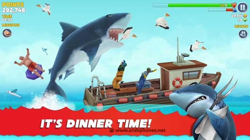 تحميل لعبة hungry shark evolution مهكرة للأندرويد