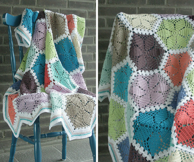 Crochet hexagon blanket | Happy in Red