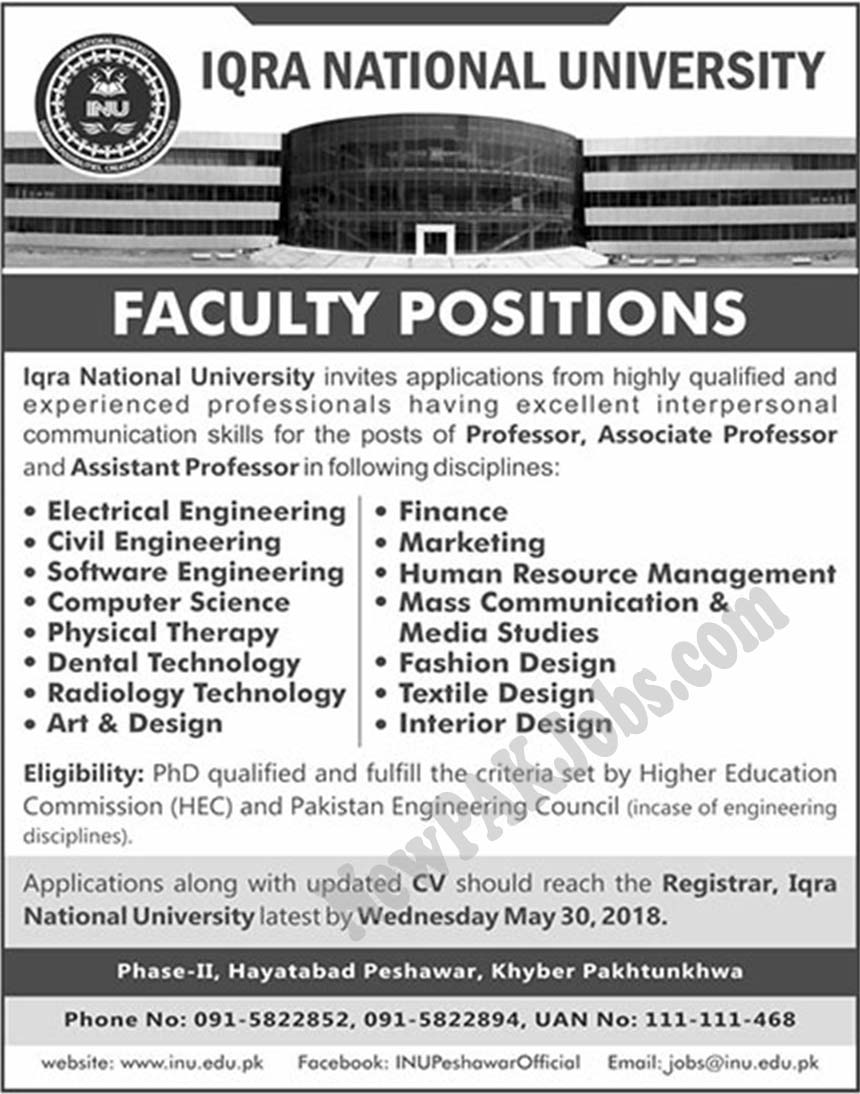 acancies vacant in Iqta National University inu.edu.pk Latest 2018 Jobs
