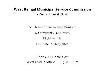 W.B Municipal Service Commission Vacancy 2020 Apply Online   858 Posts MSCWB Latest Govt Jobs.