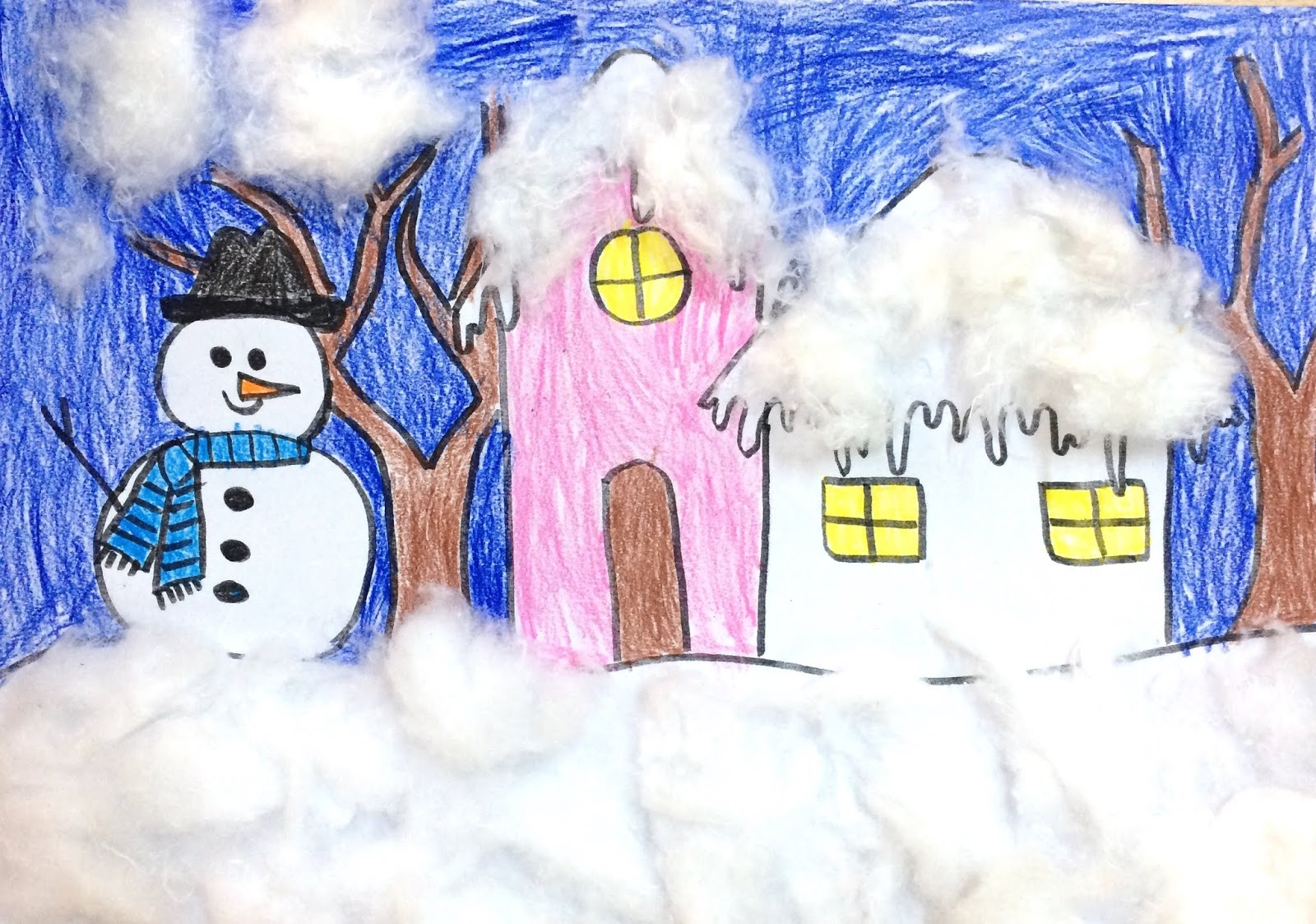 """Colaj cu vată: """"Iarna în culori vii"""""""