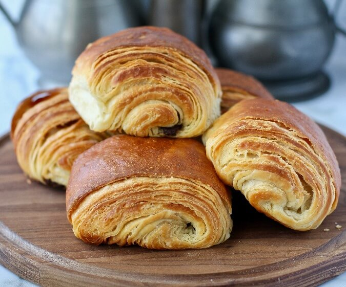 Pain au chocolat on a cutting board