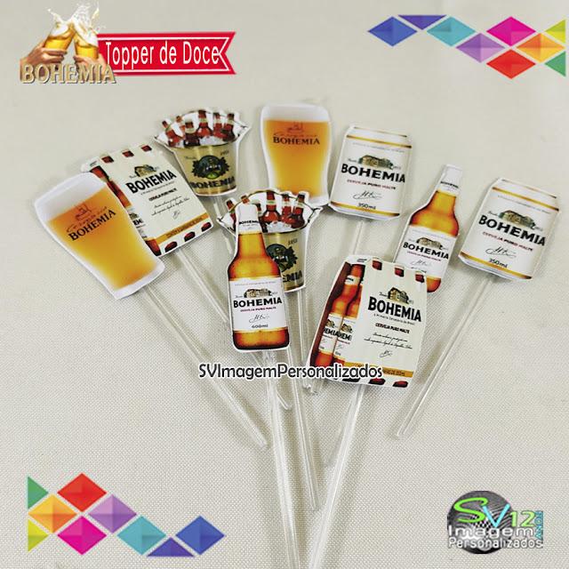 Boteco Cerveja Bohemia dicas e ideias para decoração de festa personalizados topper de doce