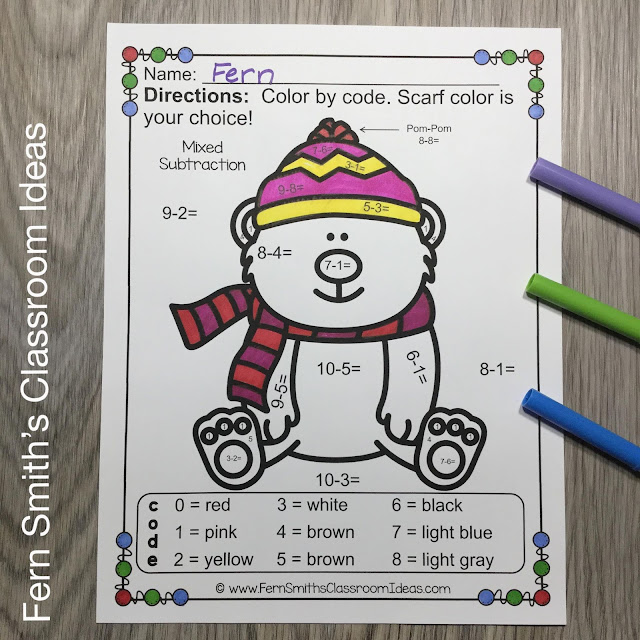 Winter Color By Number Addition, Subtraction, Multiplication, and Division Bundle #FernSmithsClassroomIdeas