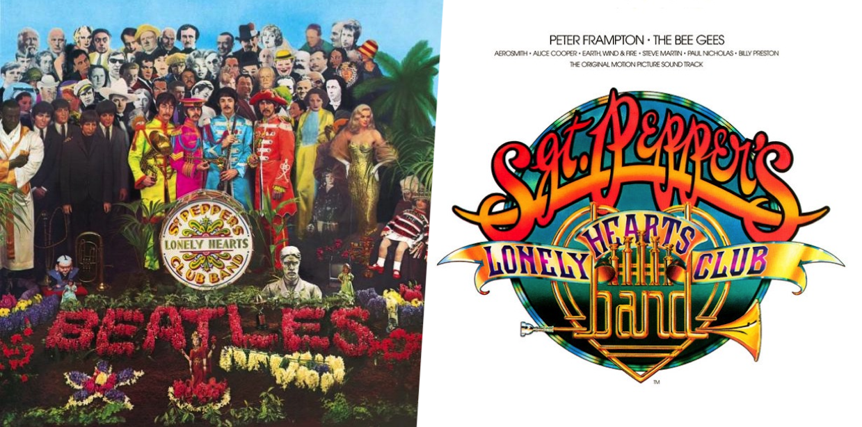 covers of The Beatles' 1967 album 'Sgt. Pepper's Lonely Hearts Club Band' and the soundtrack to the 1978 movie