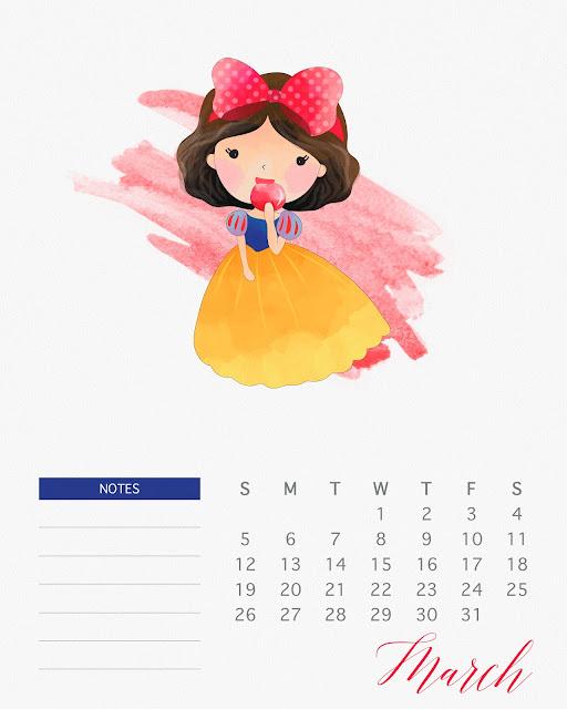 Calendario 2017 de las Princesas Disney para Imprimir Gratis Marzo.