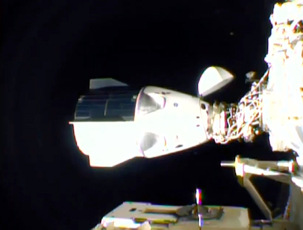 A screenshot of the Crew Dragon capsule Resilience docked at the International Space Station...on November 16, 2020.