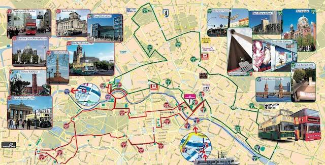Mapa City Sightseeing em Berlim