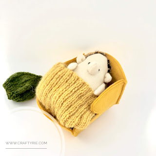 Super cute felt hedgehog with beanie made by CraftyRie.
