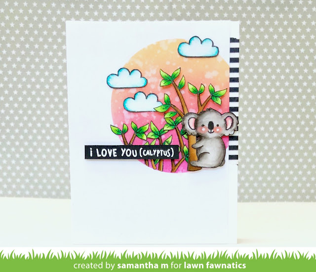 I Love You(calyptus) Card by Samantha Mann - Lawn Fawn, Distress Ink, Koala, Lawn Fawnatics Challenge Blog, Valentine's Day #lawnfawn #handmadecard #distressink #valentinesday
