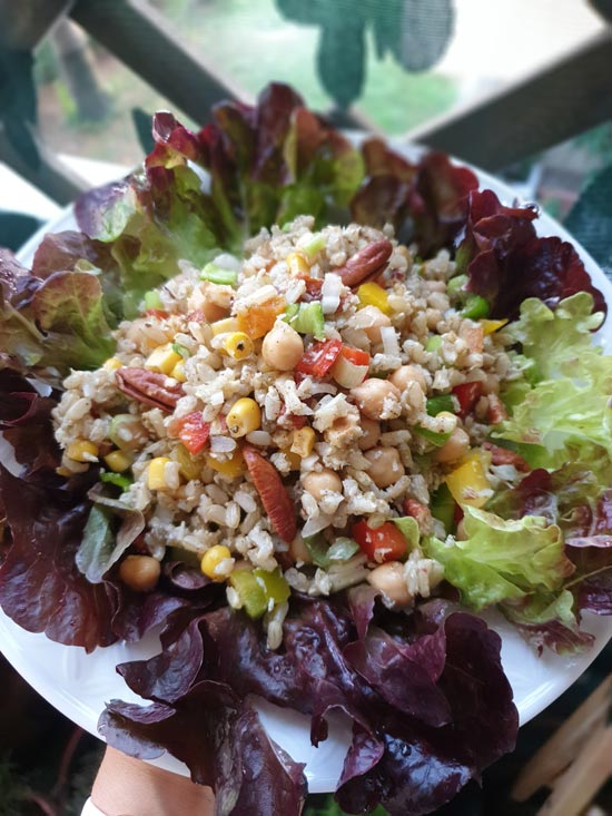 Brown Rice Salad with Chickpeas and Nuts