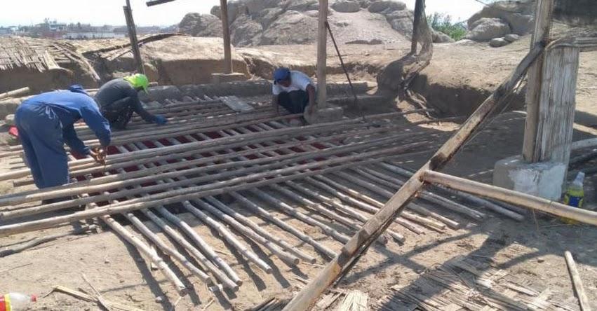 MINCUL : Ministerio de Cultura protege con cobertura pinturas murales prehispánicas de Hualmay