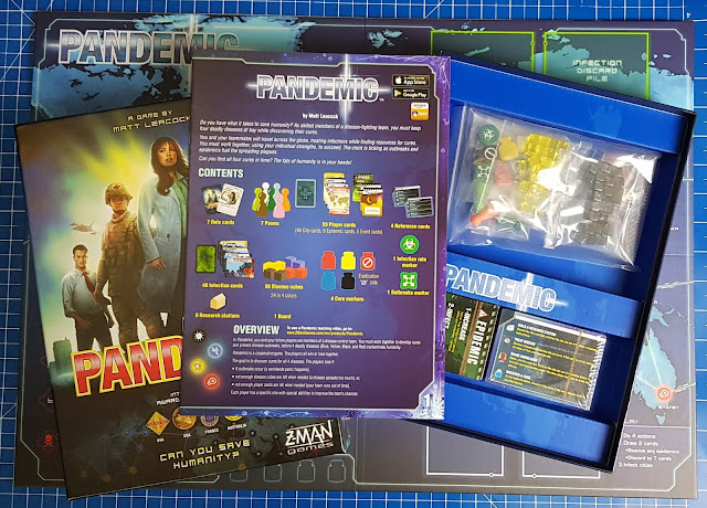 Pandemic Game Review box contents Game board bags of items rulebook