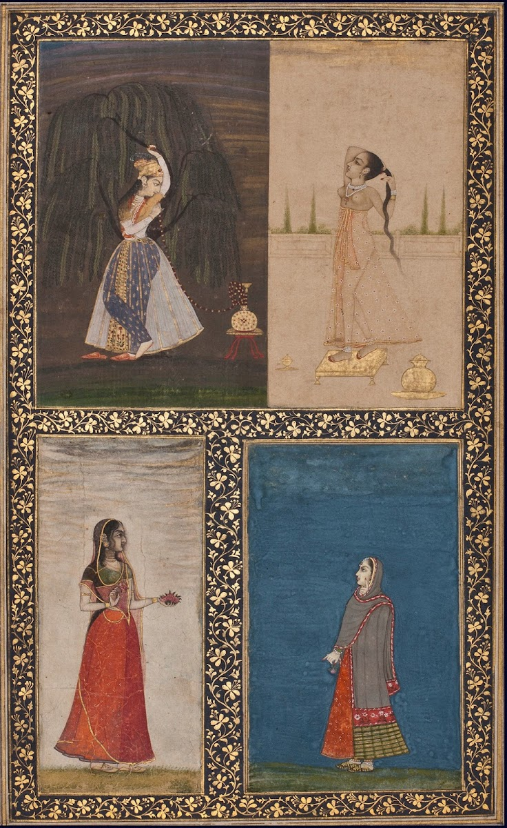 An Album Page Depicting Four Ladies - Mughal and Rajput Paintingc. 1750