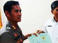 Jelang HUT Bhayangkara Ke-73, Polres Pangkep Terima 3 Srtifikat Tanah Dari BPN Pangkep