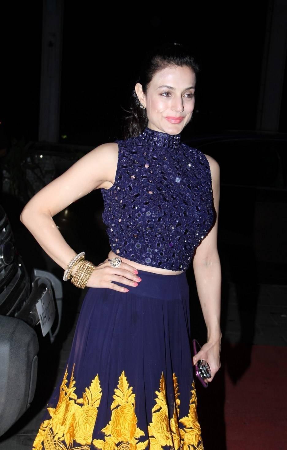 Ameesha Patel Stills In Blue Dress At Wedding Reception