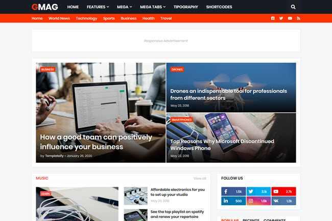 Gmag fast loading SEO friendly multipurpose blogger template