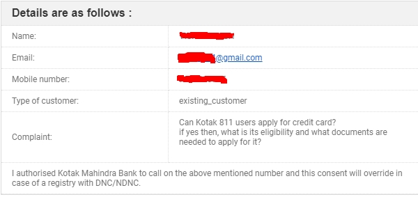 email sent to kotak for 811 credit card